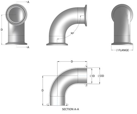 Stainless Steel Dairy & Food Bends - Clamp Ended